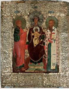 Богоматерь Воплощение с предстоящими апостолом Филиппом и священномучеником Ипатием епископом Гангрским (в окладе).
