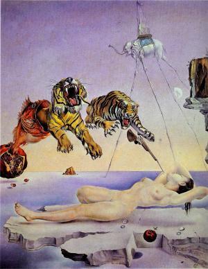 """Сальвадор Дали """"Сон, вызванный полетом пчелы вокруг граната, за секунду до пробуждения"""""""